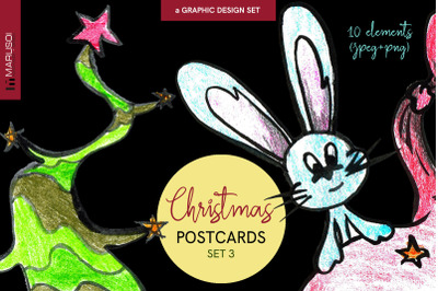Mischievous CHRISTMAS postcards, Set 3