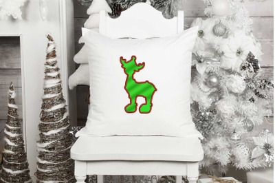Reindeer Applique Design, Christmas Embroidery Design, Holiday