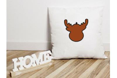 Deer Head Applique Design, Christmas Embroidery Design, Holiday