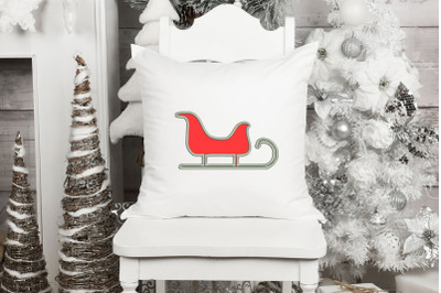 Sled Applique Design, Christmas Embroidery Design, Holiday Applique