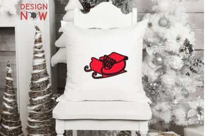 Sleigh Applique Design, Christmas Embroidery Design, Holiday Applique