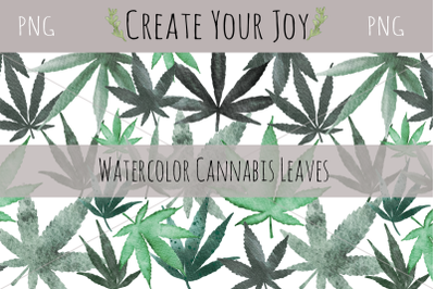 Watercolor Cannabis Leaves | 10 PNG with Seamless Pattern