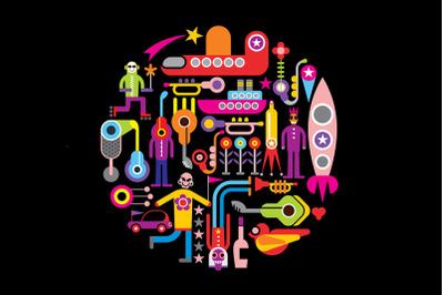 Celebration Party round shape vector illustration