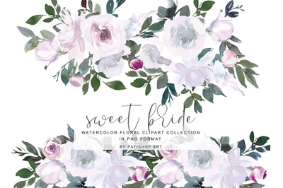 White Pink Watercolor Flowers Clipart Collection