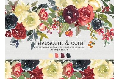 Flavescent & Coral Watercolor Clipart Set