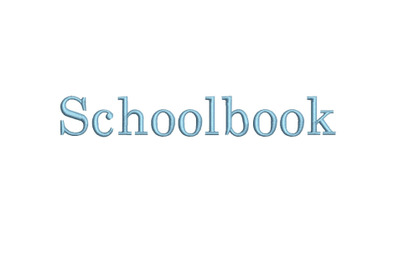 Schoolbook 15 sizes embroidery font