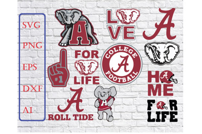 Alabama Crimson Tide Svg Png Dxf Eps Vector Files , silhouette cameo,