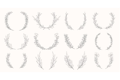 Plant hand drawn wreath