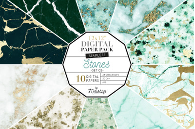 Seamless Seamless Digital Paper Pack  I  Stones Set 02