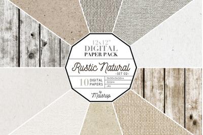 Digital Paper Pack   I   Rustic Natural Set 02