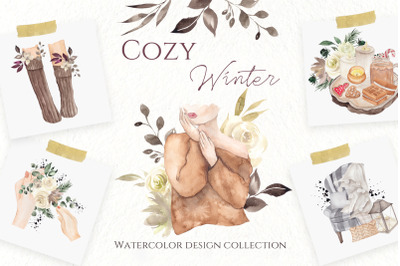 Cozy winter. Watercolor design collection
