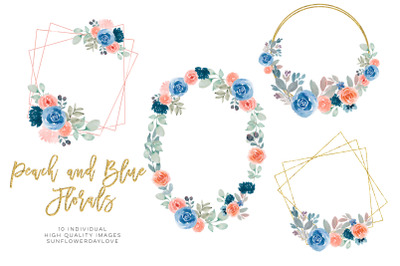 Navy blue Wedding Clipart,Watercolor Floral Frames, Navy Rustic Flower