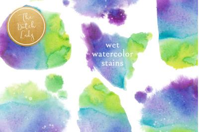 Wet Waterpaint Stain Clipart Set