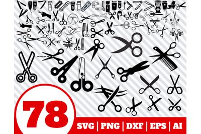 78 BARBER SVG BUNDLE - scissors clipart - scissors vector - barbershop