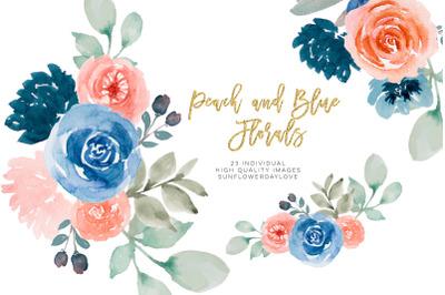 Navy Watercolor floral clip art, peach flower border, wedding graphics
