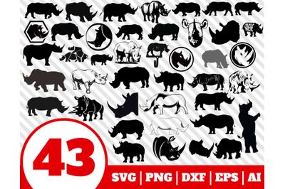 43 RHINO SVG BUNDLE - rhino clipart - rhino vector - rhino cricut