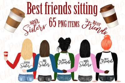 Best friend clipart,Portret creator, Bachelorette party girl
