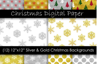 Gold and Silver Christmas Digital Paper - Snow Backgrounds