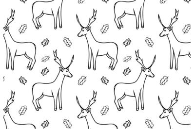 deer and leaves seamless pattern vector illustration