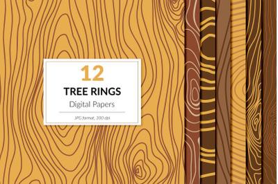 Tree Rings Digital Paper, Wood Texture Pack