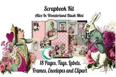 Alice in Wonderland Blush Mint Scrapbook Kit