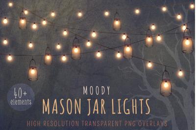 Mason jar string lights clipart