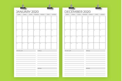 Vertical 11 x 17 Inch 2020 Calendar Template