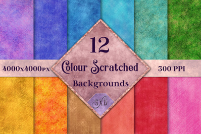 Colour Scratched Backgrounds - 12 Image Textures