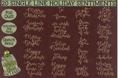 Foil Quill 20 Christmas Sentiments set 1 &2F; Single Line Sk
