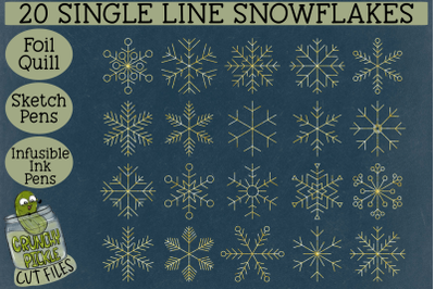 Foil Quill 20 Snowflakes set 1 / Single Line Sketch SVG