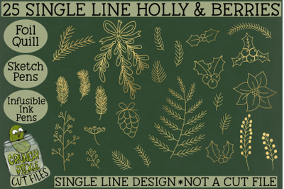 Foil Quill Christmas 27 Holly & Berries Set / Single Line