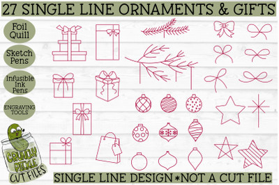 Foil Quill 27 Christmas Ornaments & Gifts Set / Single Line svg design