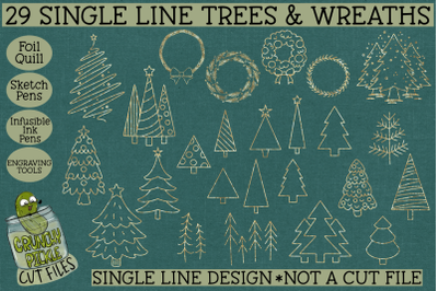 Foil Quill 29 Christmas Trees & Wreaths Set / Single Line