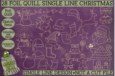 Foil Quill 28 Christmas Things Set / Single Line Sketch