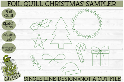 Foil Quill Christmas Sampler &2F; Single Line Sketch SVG