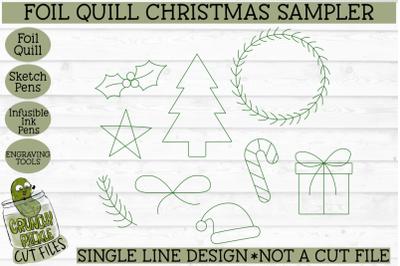 Foil Quill Christmas Sampler / Single Line Sketch SVG