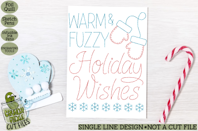 Foil Quill Christmas Card - Warm and Fuzzy / Single Line