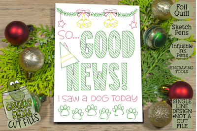 Foil Quill Christmas Card - Good News Elf Phrase