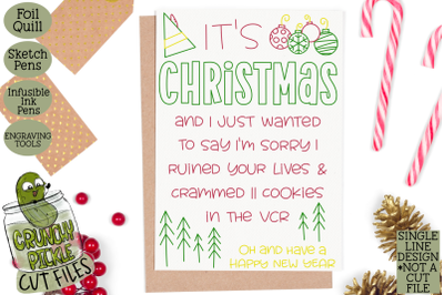 Foil Quill Christmas Card - I'm Sorry Elf Phrase