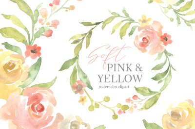 Pink & Yellow Watercolor Flowers, Wedding Bouquets PNG