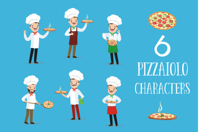 Pizzaiolo. Six cartoon characters