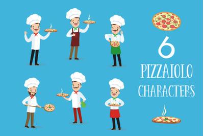 Pizzaiolo. Six cartoon characters