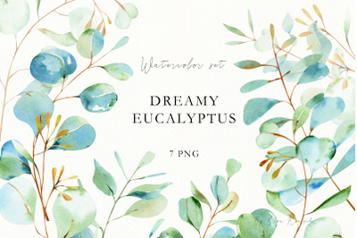 Watercolor Eucalyptus Leaves and Branches