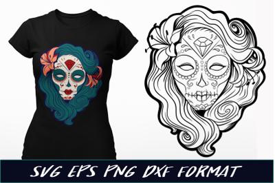 Pin-Up Sugar Skull SVG Cut File