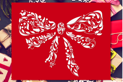 Ornamental Christmas Bow SVG Cut File