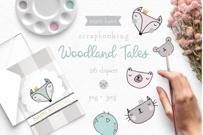 Woodland animal clipart, whimsical clipart, Scandinavian