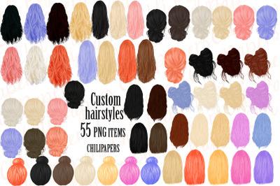 Custom Hairstyles Clipart,Hair clipart, Womans Hair Clipart