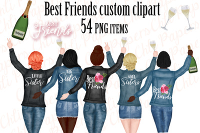 Best Friends Clipart,Custom Besties, Jeans jakets Clipart