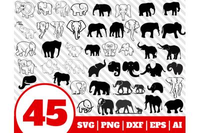 45 ELEPHANT SVG BUNDLE - elephant clipart - elephant vector - elephant