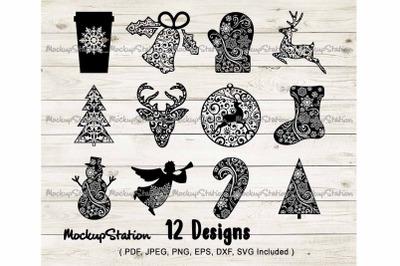 Christmas SVG Bundle, Winter Mandala Cut File PNG Bundle